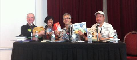 SWF panel 2012: David Almond, Me, John Dougherty, David Seow (credit: Catherine Carvell)