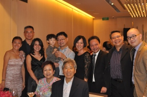 My table at the Singapore Woman Award dinner with family, friends and  radio personalities Andre Achak and Joel Chua