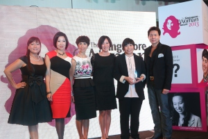From left: Florence Lian (MD of Mediacorp Radio), Donna Chua (GM of Group Marketing Services, Robinsons Group), Jane Prior, Myself, Porsche Poh and Shaun Seow (Mediacorp CEO)