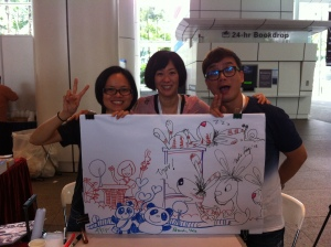 From Left: Jade Fang, Me and Patrick Yee (Can you spot Patrick's sketch of me?!)