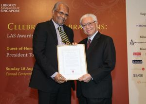 Mr Rama receives the Lifetime Contribution Award from President Tony Tan at the Library Association of Singapore Awards Ceremony on 18th August 2013, held in connection with Singapore's hosting of the International Federation Library Association's 1st congress here. (Photo credit: President Tony Tan's Facebook posting)