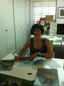 Signing media copies at Epigram Books this morning
