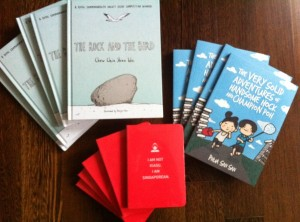 Bought copies of Epigram's latest children's books releases which I have been waiting for - The Rock and The Bird (a Royal Commonwealth Society Essay Competition Winner) and The Very Solid Adventures of Handsome Hock and Champion Poh and Epigram's latest Notebook (or Notbook as they call it)