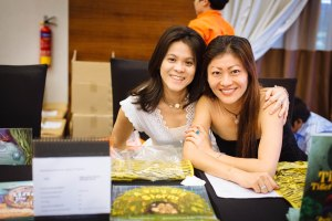My beautiful friends Jing Siew and Gail who earned a reputation for formidable bookselling skills at the launch!