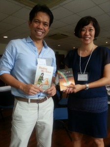 At the MAI workshop with entrepreneur, publisher & author Ardy Roberto from the Philippines - holding up each other's books