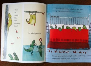 Children's book, Crocodile tries to fit in with his siblings