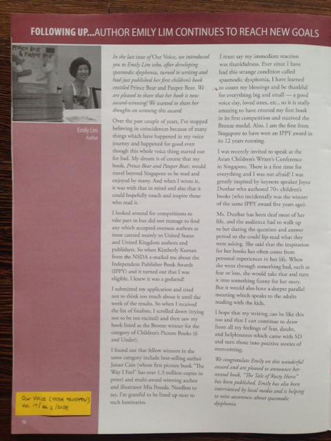 National Spasmodic Dysphonia Association Quarterly 2008