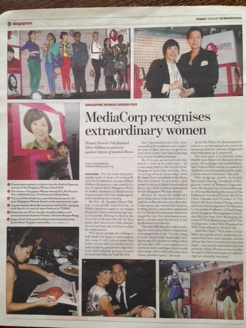 Singapore Woman's Award Ceremony Dinner (Today newspaper 22 March 2013)