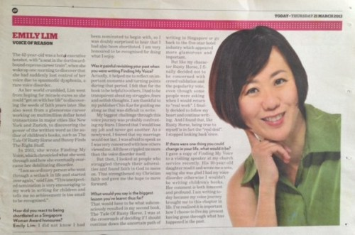 Special Feature on Mediacorp's three Singapore Woman Award Honorees (Today 21 March 2013)
