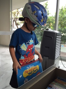 Bike Helmet, Swim Goggle, Spiderman tee (everyday for 3 months)