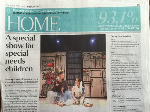 Bunny theatre show in the news - Straits Times 5 March 2016
