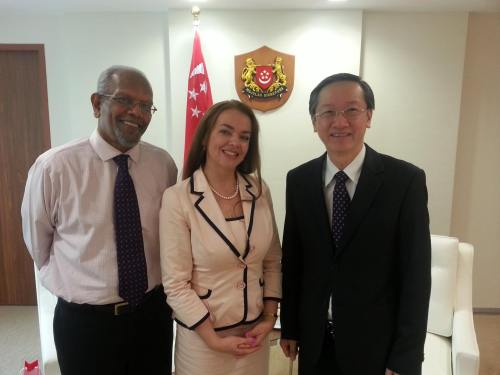 Book Council Executive Director Mr Ramachandran accompanying Petra Nagyova Dzerengova, Deputy Mayor of Bratislava, Slovakia on her visit to Minister of State, Prime Minister's Office & Ministry of Culture, Community of Youth, Mr Sam Tan during AFCC 2014